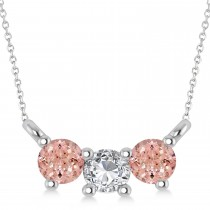Three Stone Diamond & Morganite Pendant Necklace 14k White Gold (0.45ct)