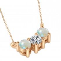 Three Stone Diamond & Opal Pendant Necklace 14k Rose Gold (0.45ct)