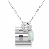 Three Stone Diamond & Opal Pendant Necklace 14k White Gold (0.45ct)