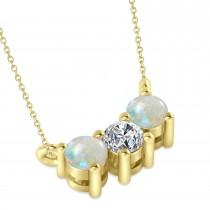 Three Stone Diamond & Opal Pendant Necklace 14k Yellow Gold (0.45ct)