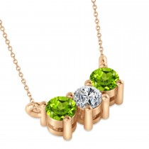 Three Stone Diamond & Peridot Pendant Necklace 14k Rose Gold (0.45ct)