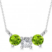 Three Stone Diamond & Peridot Pendant Necklace 14k White Gold (0.45ct)