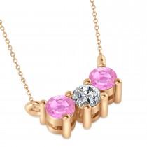 Three Stone Diamond & Pink Sapphire Pendant Necklace 14k Rose Gold (0.45ct)