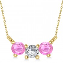 Three Stone Diamond & Pink Sapphire Pendant Necklace 14k Yellow Gold (0.45ct)