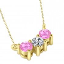 Three Stone Diamond & Pink Sapphire Pendant Necklace 14k Yellow Gold (0.45ct)