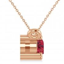 Three Stone Diamond & Ruby Pendant Necklace 14k Rose Gold (0.45ct)