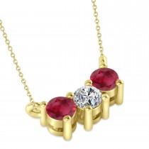 Three Stone Diamond & Ruby Pendant Necklace 14k Yellow Gold (0.45ct)