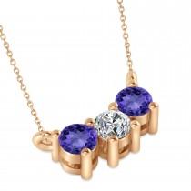 Three Stone Diamond & Tanzanite Pendant Necklace 14k Rose Gold (0.45ct)