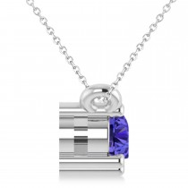 Three Stone Diamond & Tanzanite Pendant Necklace 14k White Gold (0.45ct)