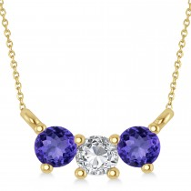 Three Stone Diamond & Tanzanite Pendant Necklace 14k Yellow Gold (0.45ct)