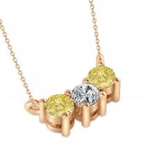 Three Stone Diamond & Yellow Diamond Pendant Necklace 14k Rose Gold (0.45ct)
