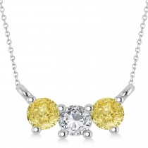 Three Stone Diamond & Yellow Diamond Pendant Necklace 14k White Gold (0.45ct)