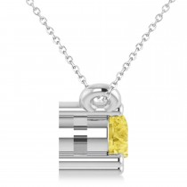 Three Stone Diamond & Yellow Diamond Pendant Necklace 14k White Gold (0.45ct)|escape
