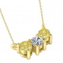 Three Stone Diamond & Yellow Diamond Pendant Necklace 14k Yellow Gold (0.45ct)