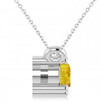 Three Stone Diamond & Yellow Sapphire Pendant Necklace 14k White Gold (0.45ct)|escape