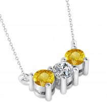 Three Stone Diamond & Yellow Sapphire Pendant Necklace 14k White Gold (0.45ct)