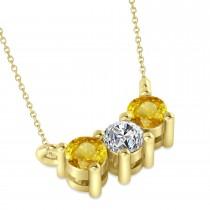 Three Stone Diamond & Yellow Sapphire Pendant Necklace 14k Yellow Gold (0.45ct)