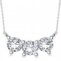 Three Stone Diamond Pendant Necklace 14k White Gold (1.00ct)