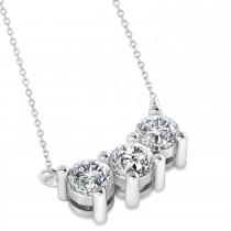 Three Stone Diamond Pendant Necklace 14k White Gold (1.00ct)