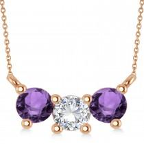 Three Stone Diamond & Amethyst Pendant Necklace 14k Rose Gold (1.00ct)