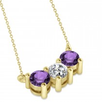 Three Stone Diamond & Amethyst Pendant Necklace 14k Yellow Gold (1.00ct)