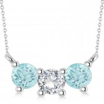 Three Stone Diamond & Aquamarine Pendant Necklace 14k White Gold (1.00ct)