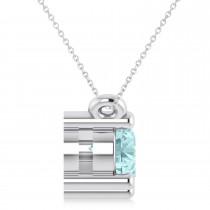 Three Stone Diamond & Aquamarine Pendant Necklace 14k White Gold (1.00ct)|escape
