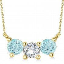 Three Stone Diamond & Aquamarine Pendant Necklace 14k Yellow Gold (1.00ct)