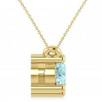 Three Stone Diamond & Aquamarine Pendant Necklace 14k Yellow Gold (1.00ct)