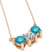 Three Stone Diamond & Blue Diamond Pendant Necklace 14k Rose Gold (1.00ct)