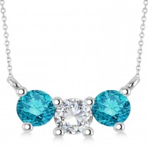 Three Stone Diamond & Blue Diamond Pendant Necklace 14k White Gold (1.00ct)