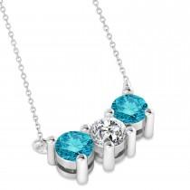 Three Stone Diamond & Blue Diamond Pendant Necklace 14k White Gold (1.00ct)