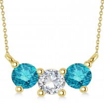 Three Stone Diamond & Blue Diamond Pendant Necklace 14k Yellow Gold (1.00ct)