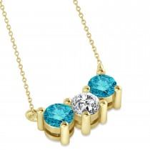 Three Stone Diamond & Blue Diamond Pendant Necklace 14k Yellow Gold (1.00ct)