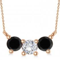 Three Stone Diamond & Black Diamond Pendant Necklace 14k Rose Gold (1.00ct)