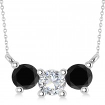 Three Stone Diamond & Black Diamond Pendant Necklace 14k White Gold (1.00ct)