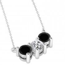 Three Stone Diamond & Black Diamond Pendant Necklace 14k White Gold (1.00ct)