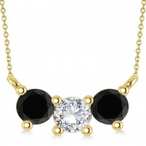 Three Stone Diamond & Black Diamond Pendant Necklace 14k Yellow Gold (1.00ct)