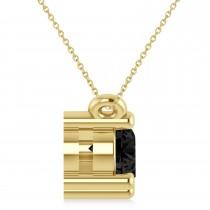 Three Stone Diamond & Black Diamond Pendant Necklace 14k Yellow Gold (1.00ct)