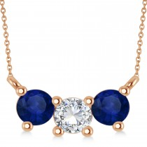 Three Stone Diamond & Blue Sapphire Pendant Necklace 14k Rose Gold (1.00ct)