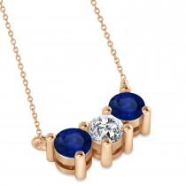 Three Stone Diamond & Blue Sapphire Pendant Necklace 14k Rose Gold (1.00ct)