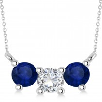 Three Stone Diamond & Blue Sapphire Pendant Necklace 14k White Gold (1.00ct)