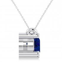 Three Stone Diamond & Blue Sapphire Pendant Necklace 14k White Gold (1.00ct)