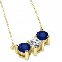 Three Stone Diamond & Blue Sapphire Pendant Necklace 14k Yellow Gold (1.00ct)