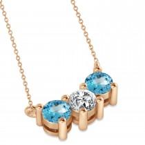 Three Stone Diamond & Blue Topaz Pendant Necklace 14k Rose Gold (1.00ct)