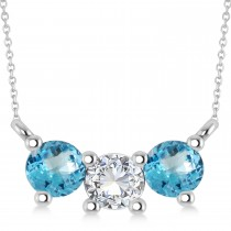 Three Stone Diamond & Blue Topaz Pendant Necklace 14k White Gold (1.00ct)