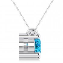 Three Stone Diamond & Blue Topaz Pendant Necklace 14k White Gold (1.00ct)|escape