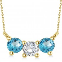 Three Stone Diamond & Blue Topaz Pendant Necklace 14k Yellow Gold (1.00ct)