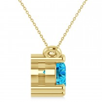 Three Stone Diamond & Blue Topaz Pendant Necklace 14k Yellow Gold (1.00ct)