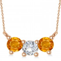 Three Stone Diamond & Citrine Pendant Necklace 14k Rose Gold (1.00ct)